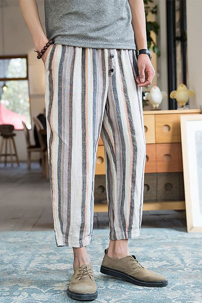 Striped Linen Light Harem Pants