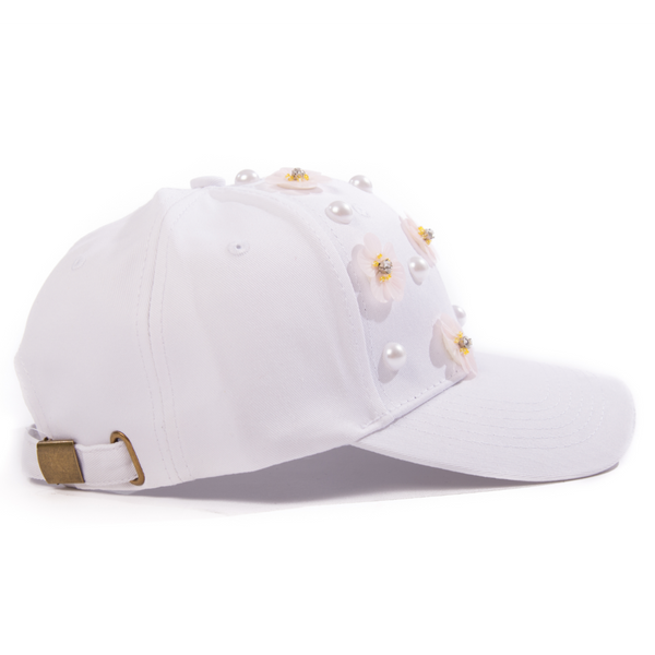 Women's White Cap with Flowers