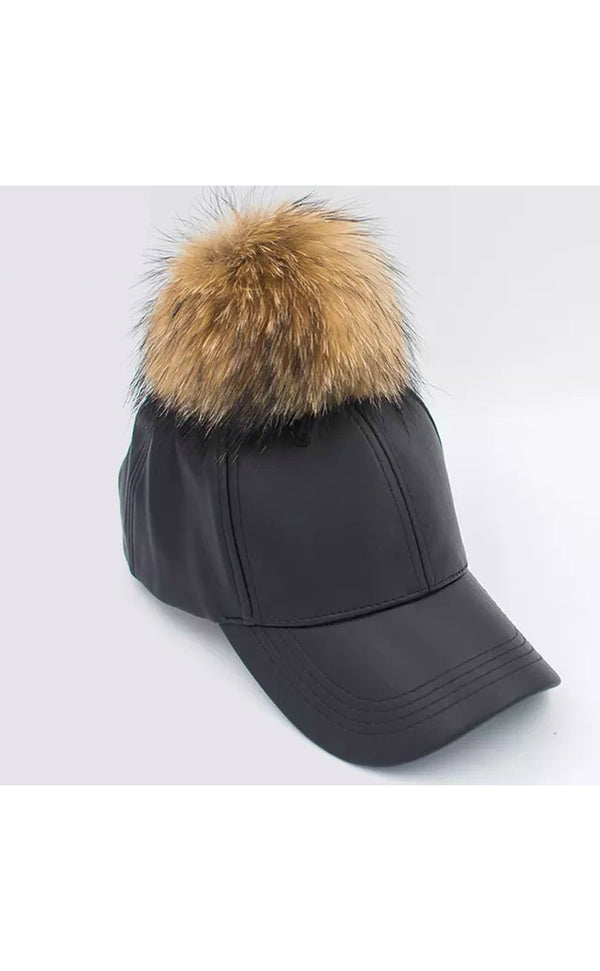 Women's Cap with Fur Pom Pom