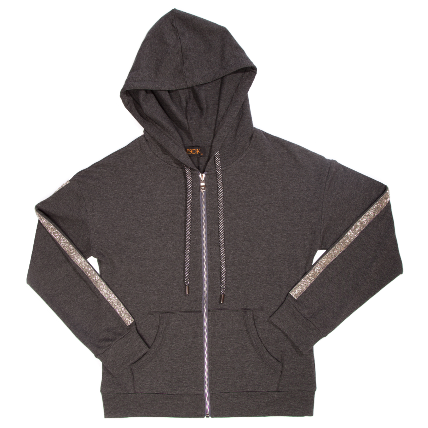 Women's Zip-Up Hoodie with Sequins