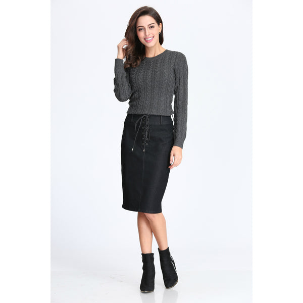 Eyelet Lace-Up Denim Pencil Skirt