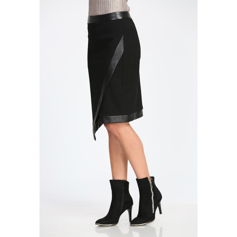 Wrapover Leather Pencil Skirt