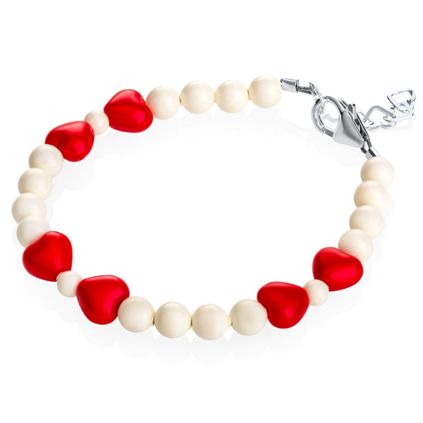 Red Hearts & White Beads Bracelet