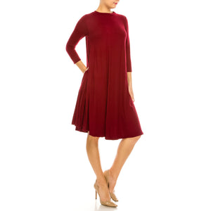 Harper Knee Length Solid Swing Dress