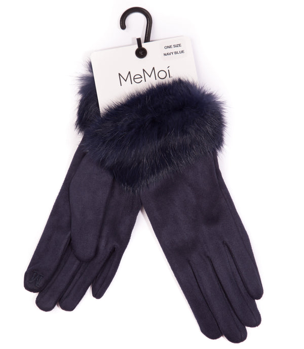 Women's Suede Gloves with Fur