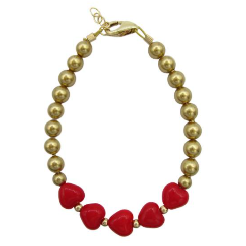 Red Hearts & Gold Pearls Bracelet