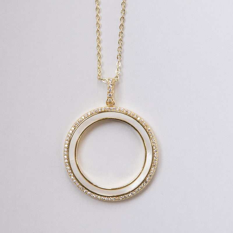 Fancy Circle Necklace with Crystals
