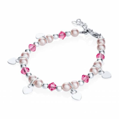Pink Bead Bracelet with Heart Charms