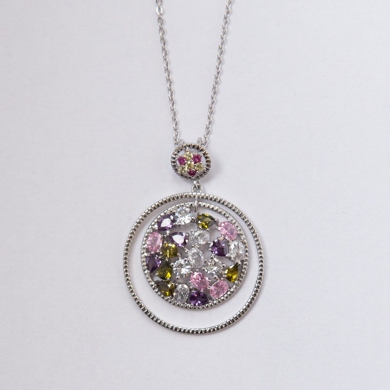 Fancy Necklace with Coloured Crystals