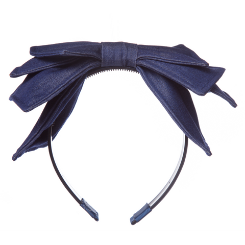 Large Denim Bow Layered Hairband