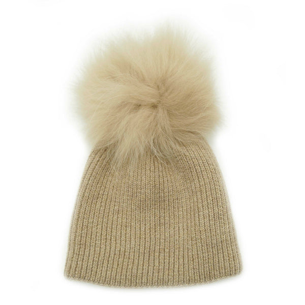 Ribbed Knit Pom Pom Hat