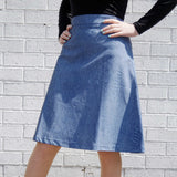 Girls PU Denim Look Skater Skirt