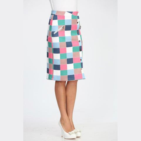 Checked Pencil Scuba Skirt