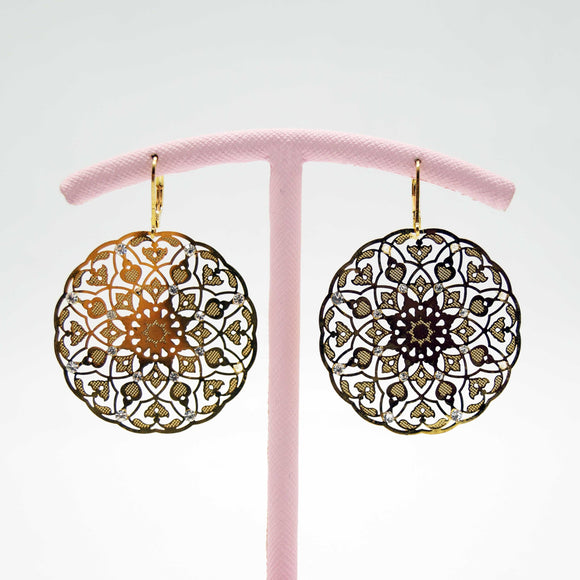 Gold Flower Disc Earrings