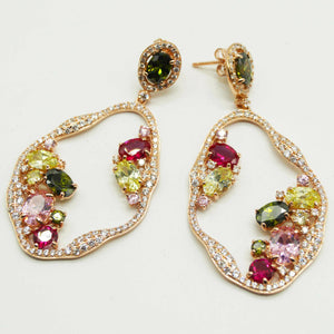 Rose/Multi Colour Hollow Drop Earrings