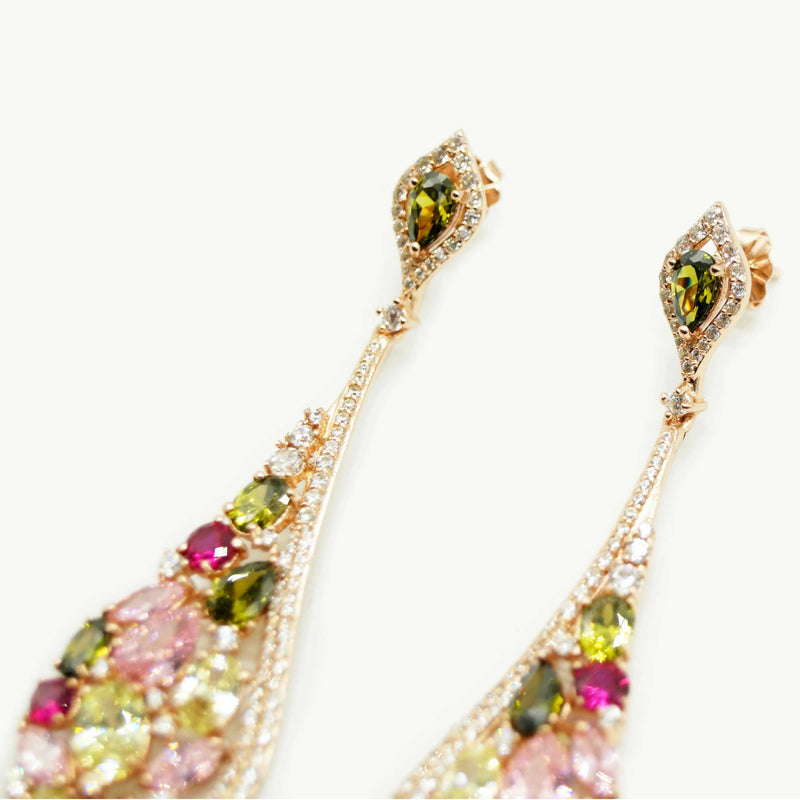 Rose Oval Drop Shimmer Earrings