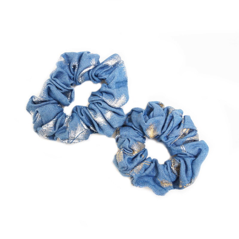 Metallic Feather Denim Scrunchie