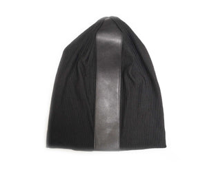 Black Ribbed Leather Strip Beanie