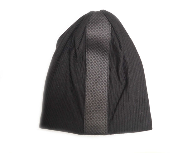 Black Ribbed Quilted Leather Strip Beanie