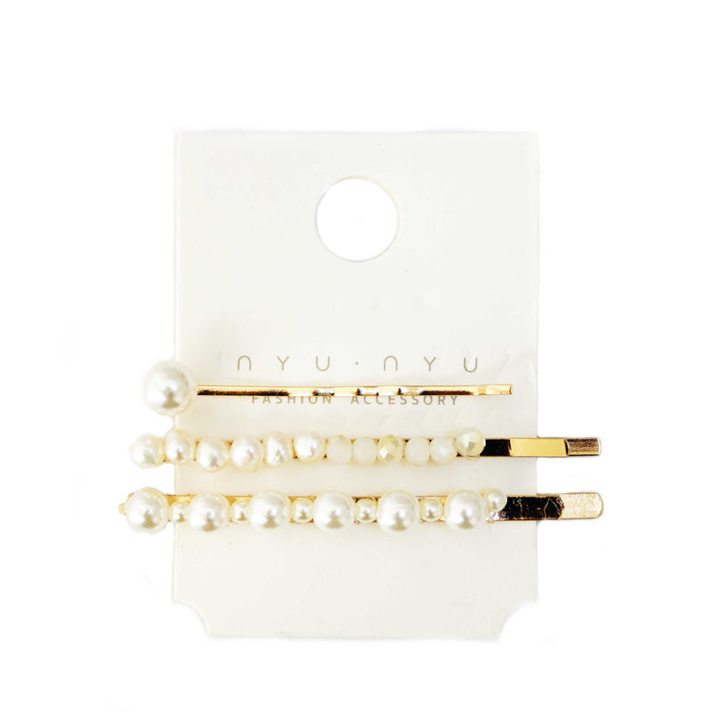 Pearl Hairslides Trio Set