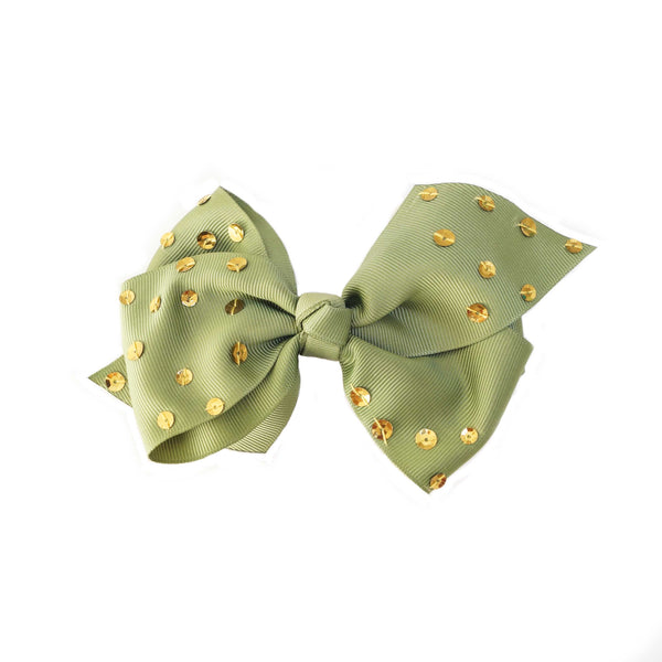 Green Sequin Bow Clip - 5""