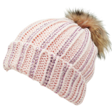 Diamante Striped Fur Pom Pom Hat