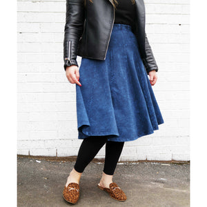 Ladies Stone Wash Panel Skirt