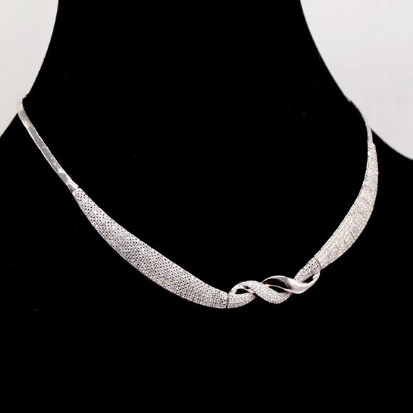 Sterling Silver Crystal Swirl Necklace