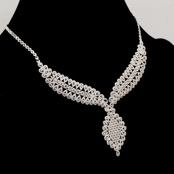 Sterling Silver Floral Lace Necklace