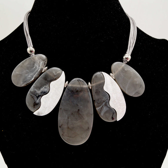 Grey Marble Effect Bead Necklace