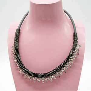 Grey Bead Drop Necklace