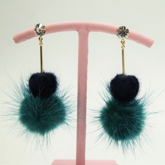 Teal Fur Pom Drop Earrings