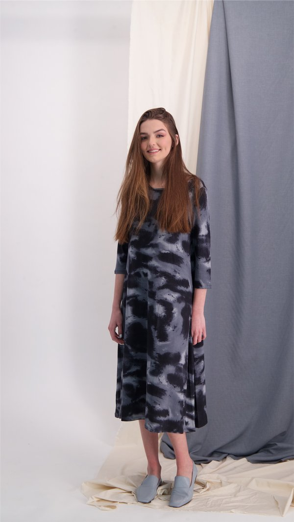 Collection Dress / Black & Grey Tie Dye