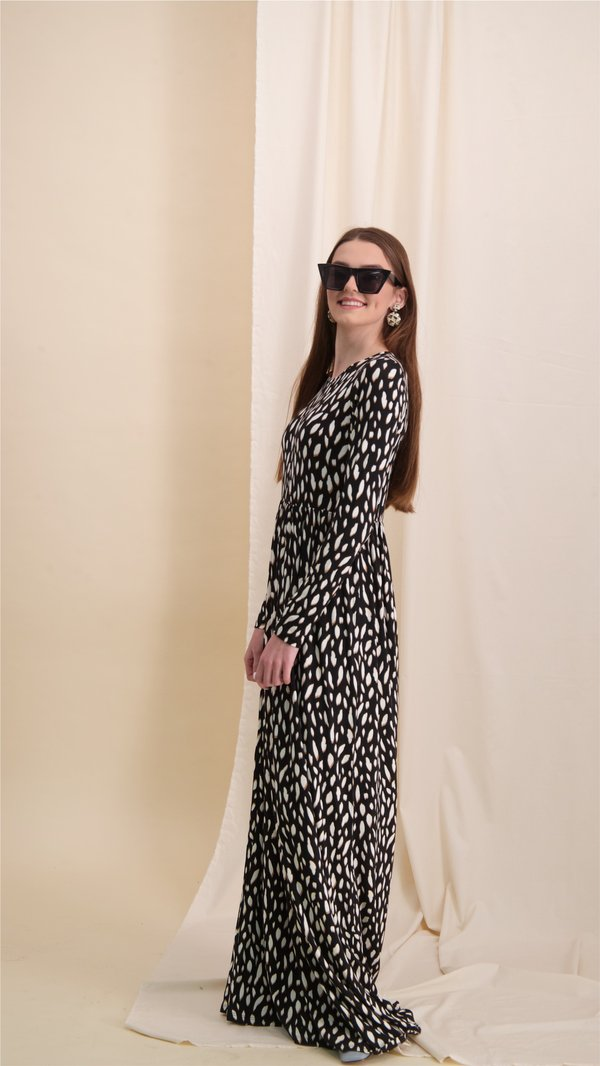 Belted Maxi Dress / Beige & White Dots