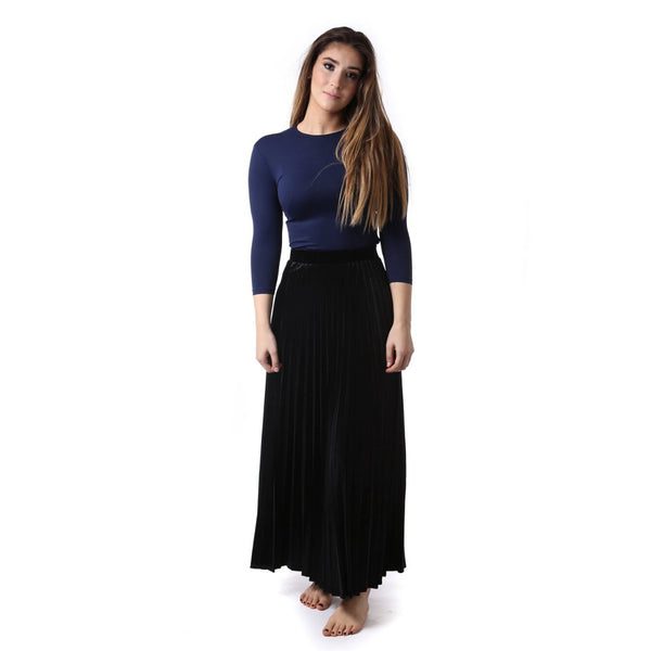 Womens Long Velour Pleat Skirt