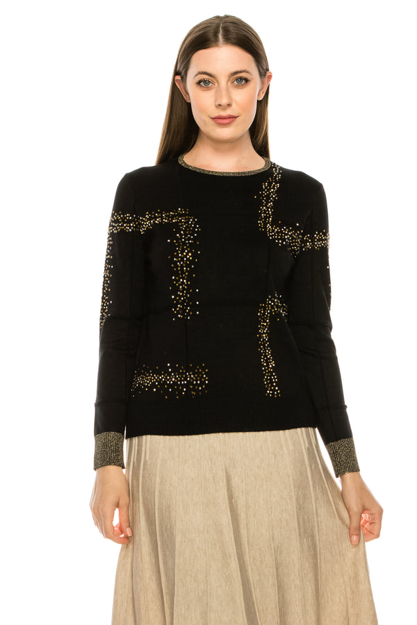 Sequin Applique Detail Knit Top