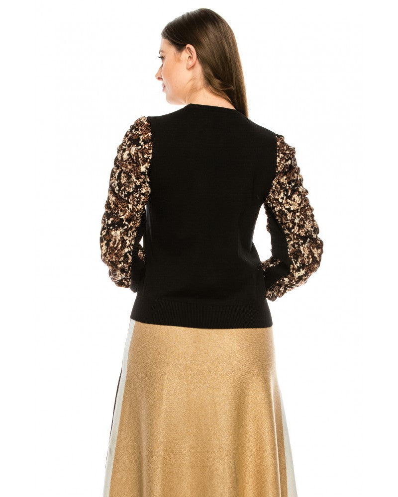 Snake Print Puff Sleeve Top
