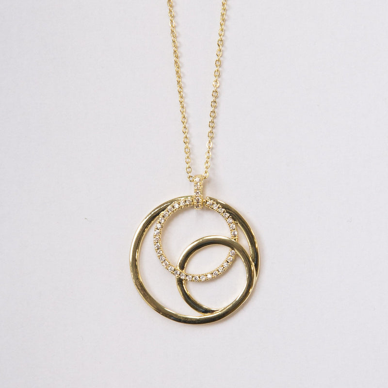 Circle Necklace with Crystals