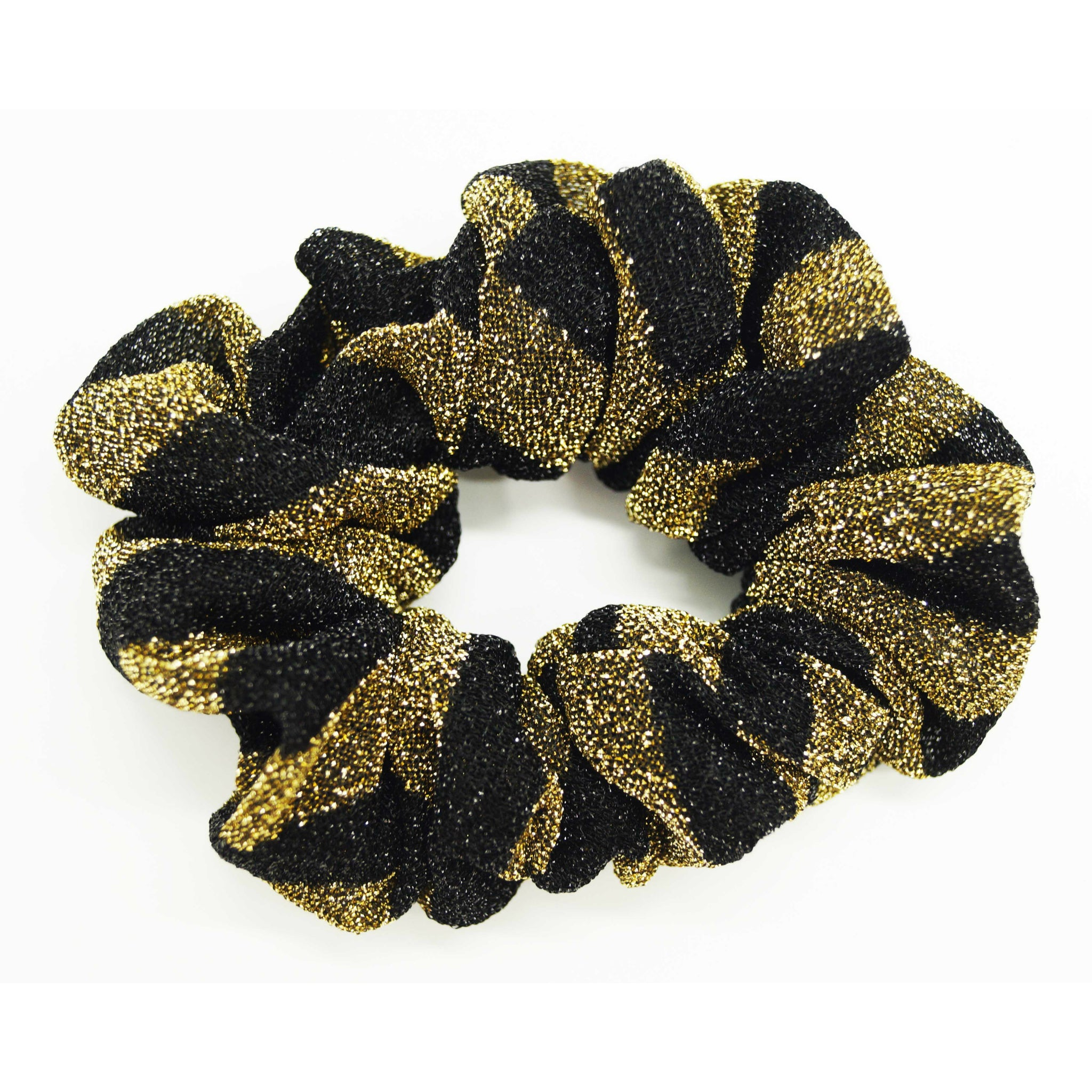 Metallic Glitter Stripe Scrunchie