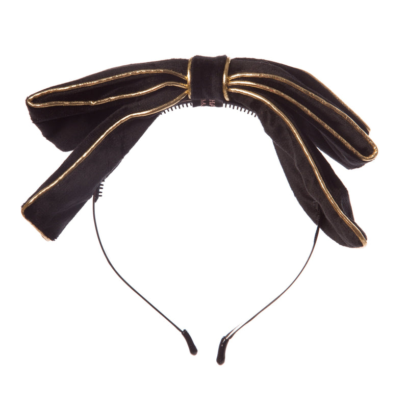 Girls Velvet Bow Hairband with Gold Rim
