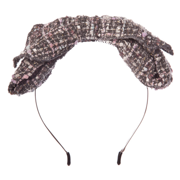 Girls Grey Check Bow Hairband