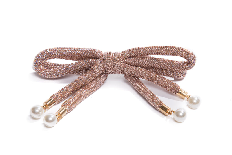 Large Shiny Bow Hairclip with Pearls