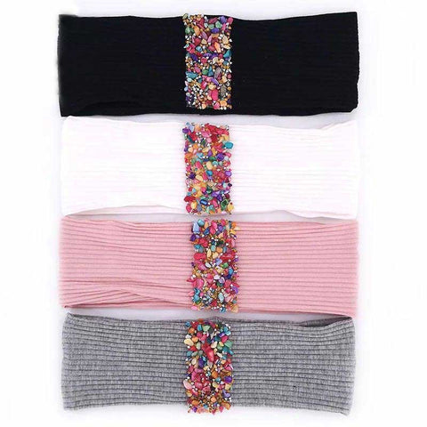 Ladies Ribbed Multicolour Stone Strip Headband