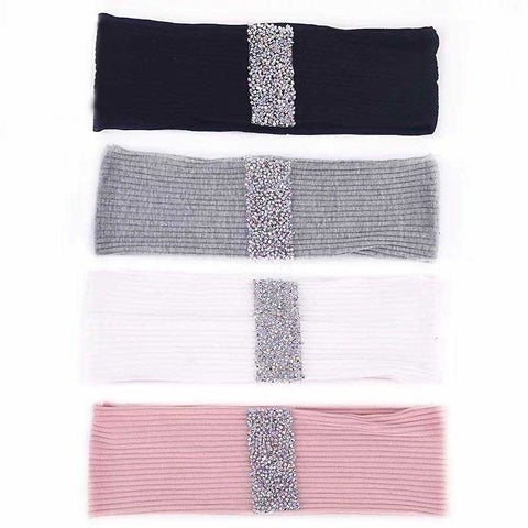 Ladies Ribbed Embellished Strip Headband