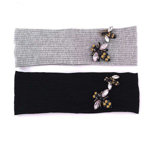 Ladies Ribbed Headband Bee Embellishment