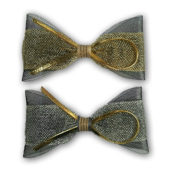 Hair bows clips in gold and silver mesh