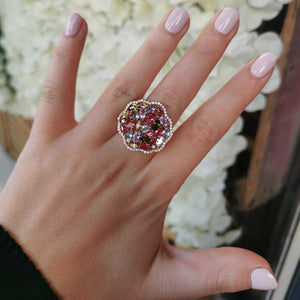 Rose Gold Multi Stone Flower Ring