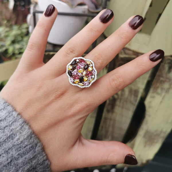 Silver Multi Jewel Flower Ring