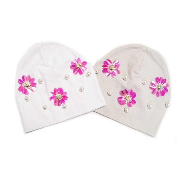 Flower & Pearl Cotton Baby Hat