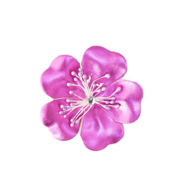 Metallic Purple Flower Clip - 3""